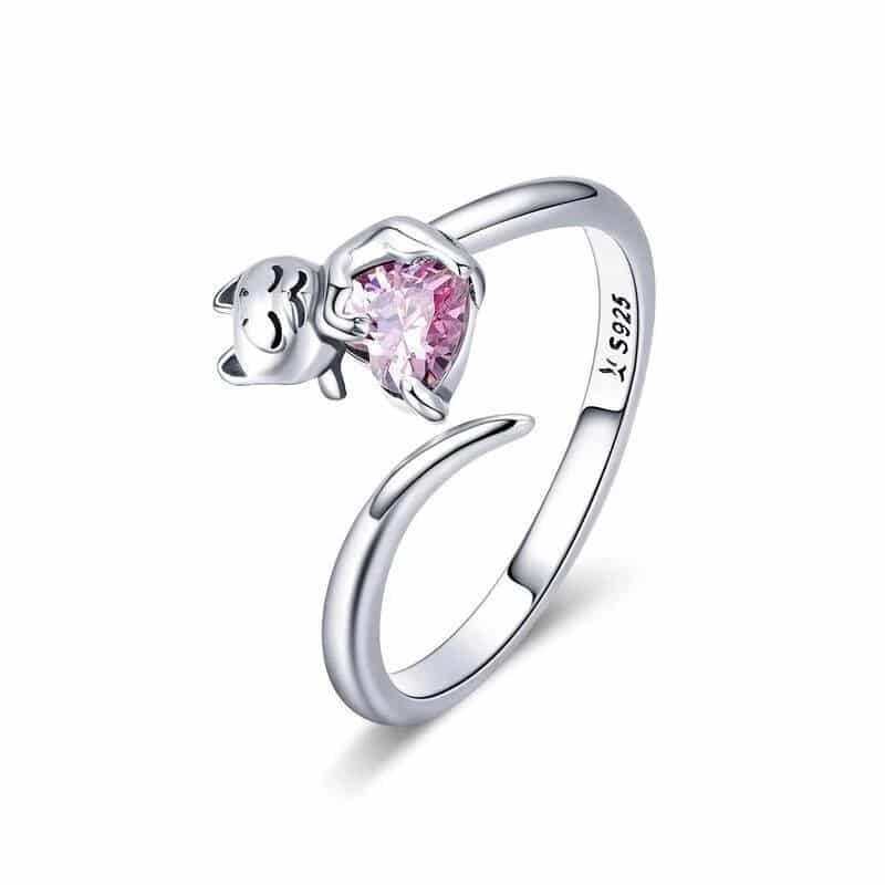 Bague Chat en Argent Coeur En Crystal Rose Image 1