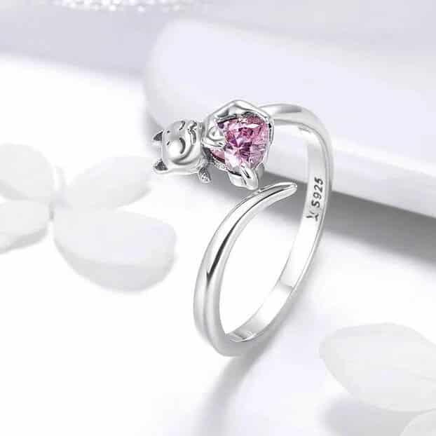 Bague Chat en Argent Coeur En Crystal Rose Image 4