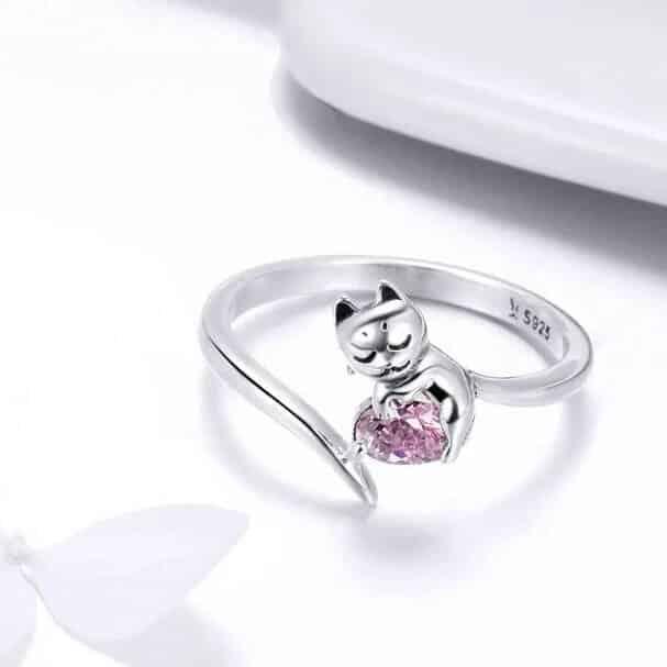 Bague Chat en Argent Coeur En Crystal Rose Image 3