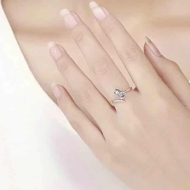 Bague Chat en Argent Coeur En Crystal Rose Image 2