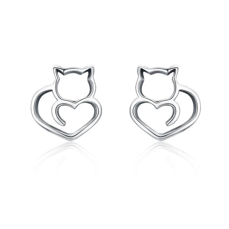Boucles D'Oreilles cœur de chat 1