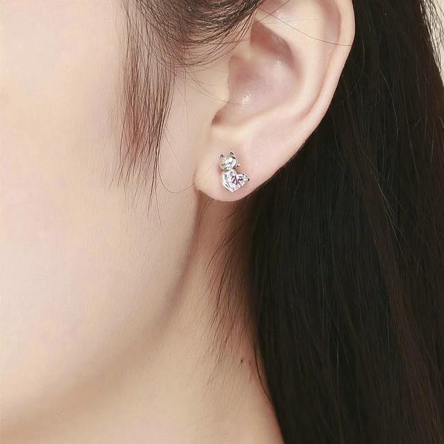 Boucles D'oreilles Chat Au Cœur tendre Rose en Cristal 2