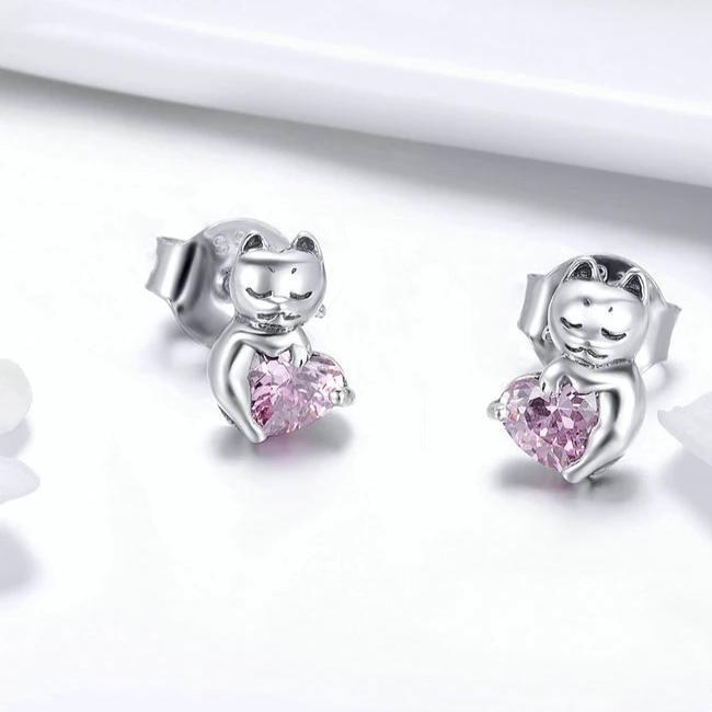 Boucles D'oreilles Chat Au Cœur tendre Rose en Cristal 3