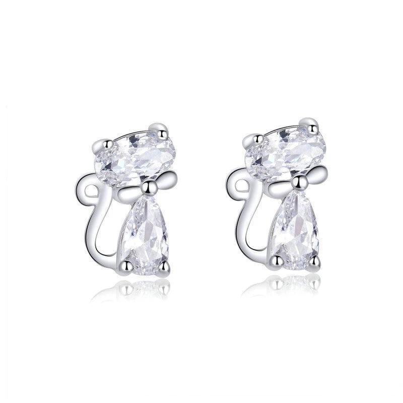 Boucles d'oreilles chat en cristal 1