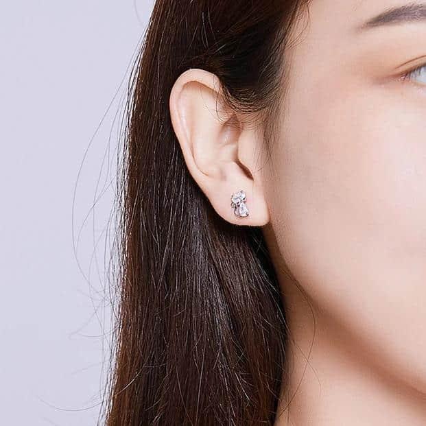 Boucles d'oreilles chat en cristal 2