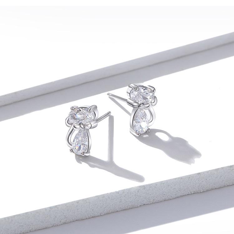 Boucles d'oreilles chat en cristal 3