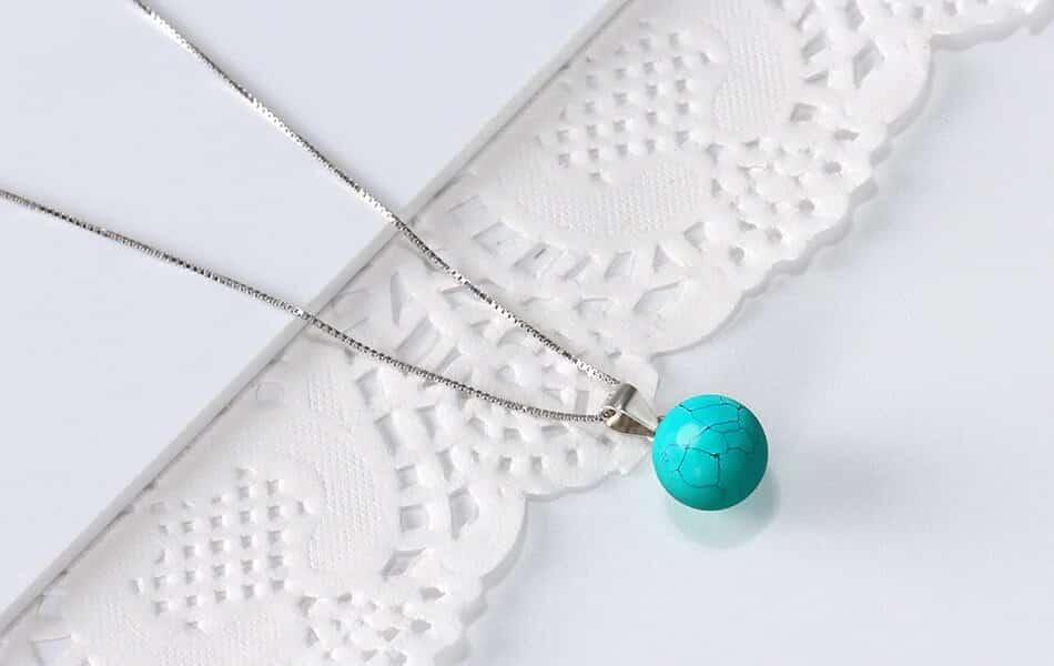Pendentif Oeil de Chat bleu turquoise Image 4