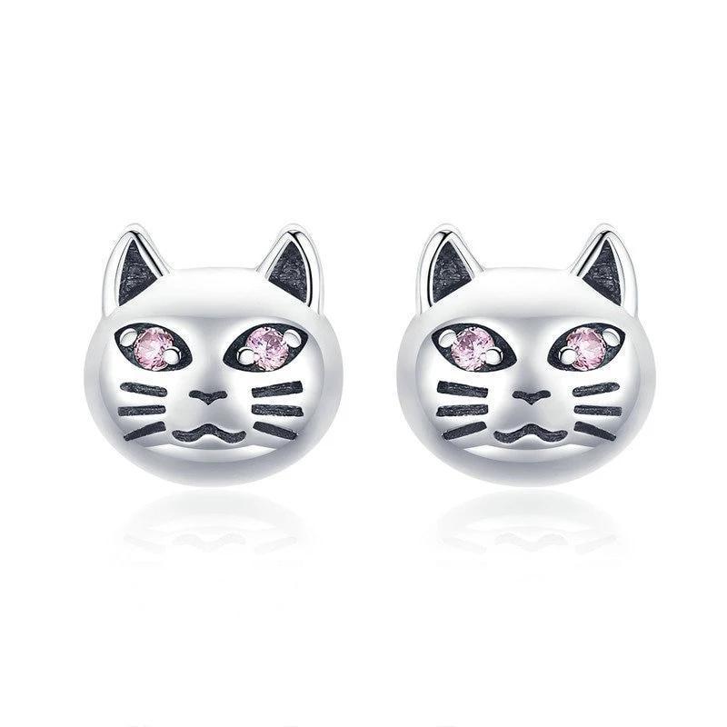 Boucles d'oreilles chat aux yeux perçants 1