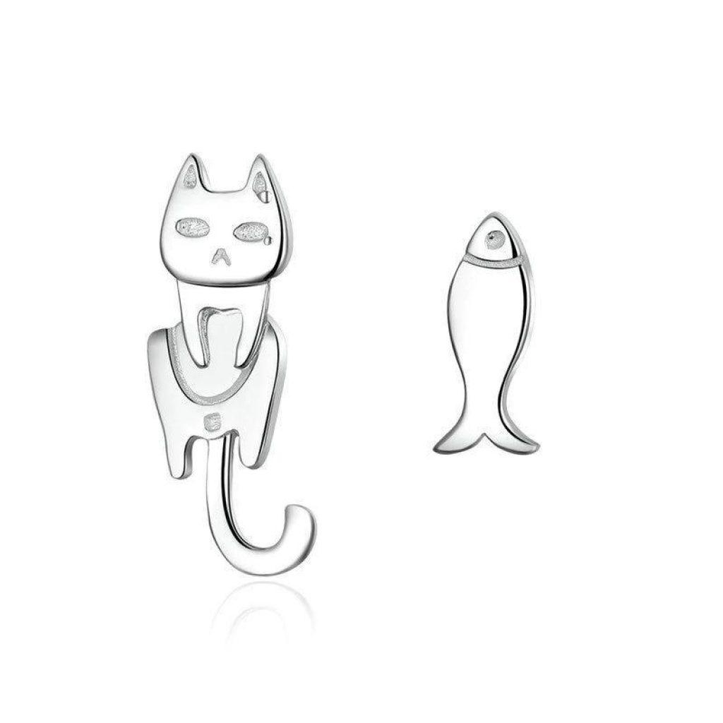 Boucles d'Oreilles Chat Argent, Petit Chat Pêcheur