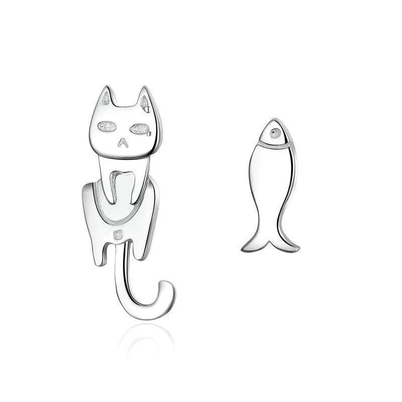 Boucles d'Oreilles Petit Chat Pêcheur 1
