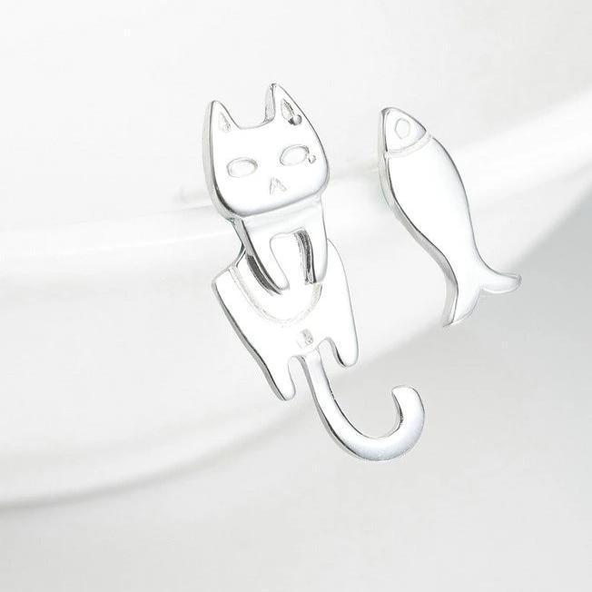 Boucles d'Oreilles Petit Chat Pêcheur 3