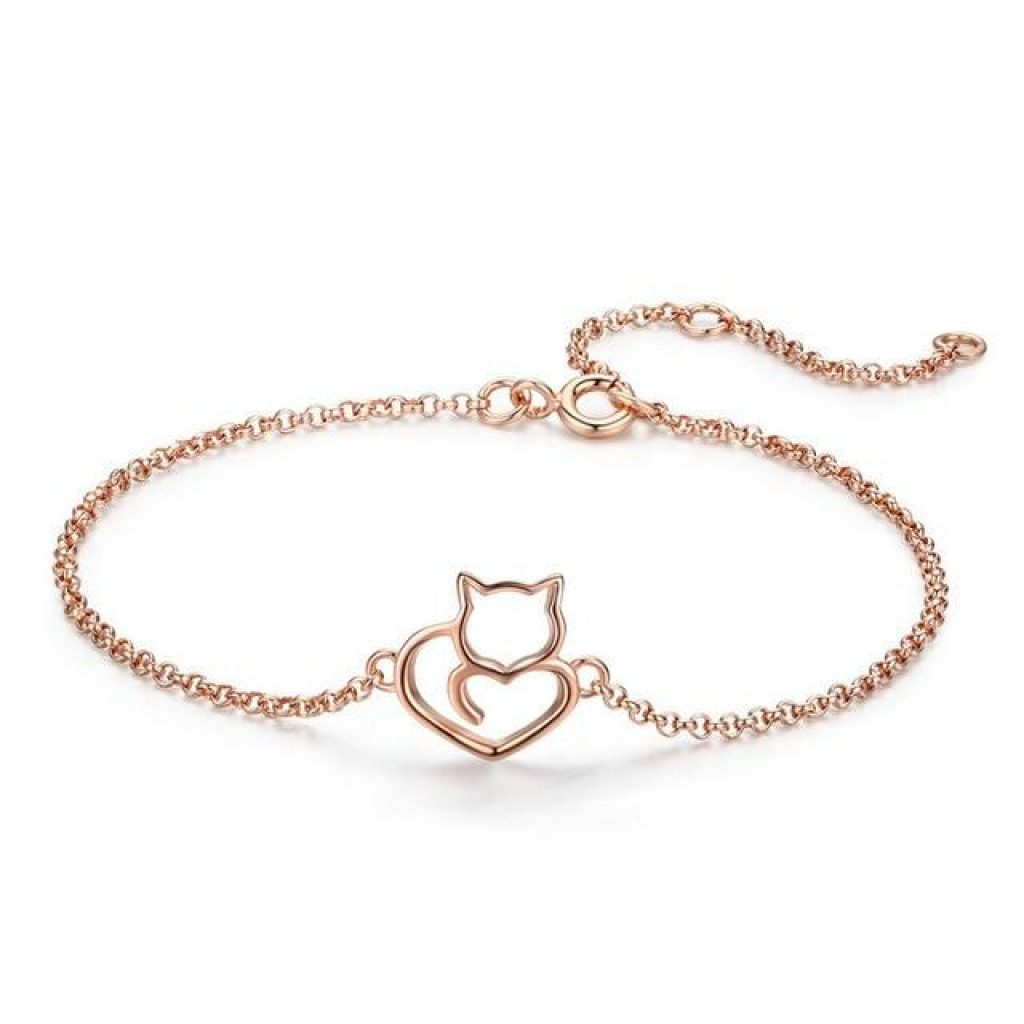 Bracelet Chat Or Rose au Cœur plein d'amour