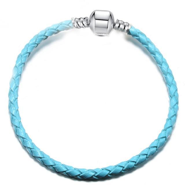 Bracelet en cuire bleu ciel
