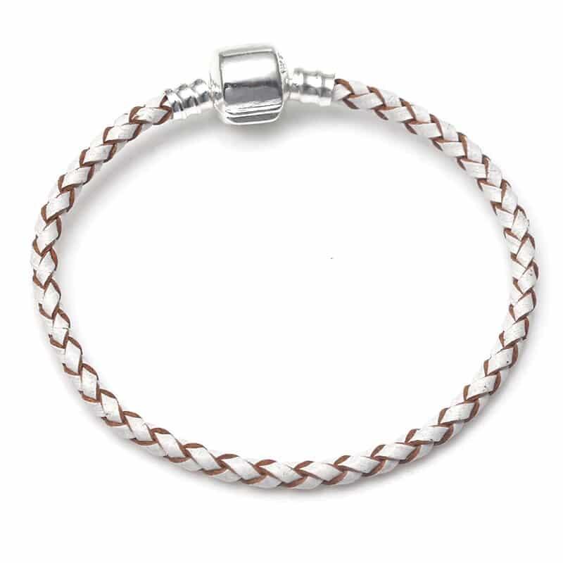 Bracelet en cuire blanc et marron