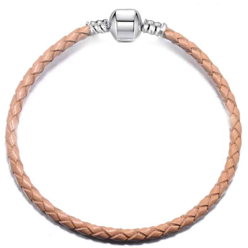 Bracelet en cuire beige