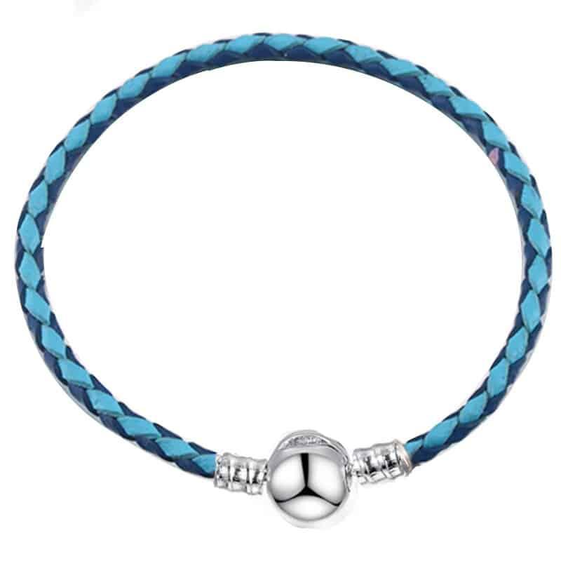 Bracelet en cuir au deux bleues