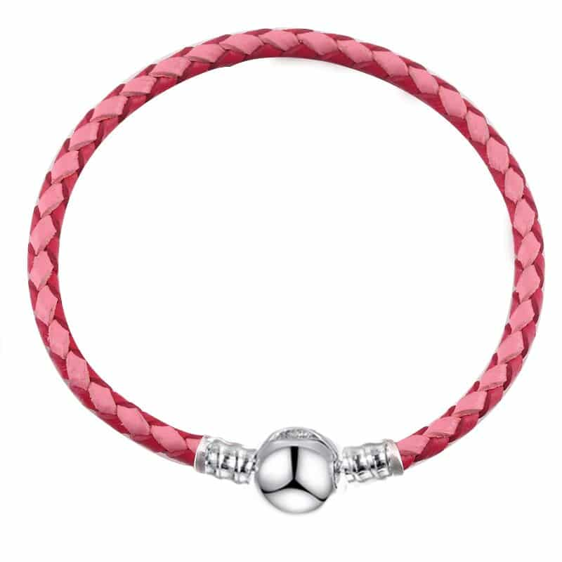 Bracelet en cuire double rose