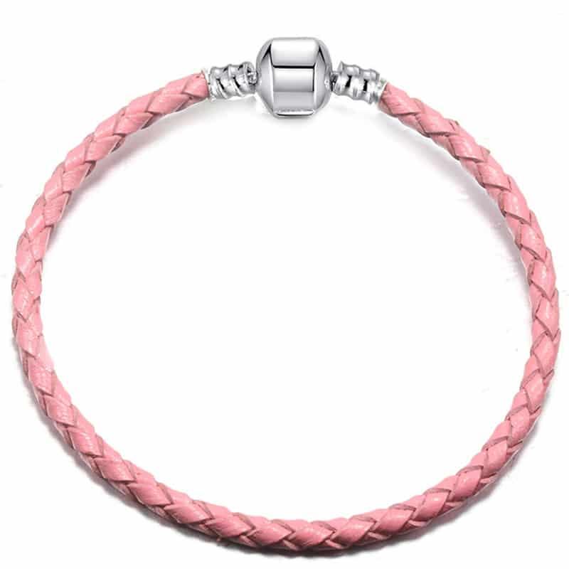 bracelet en cuire rose pâle