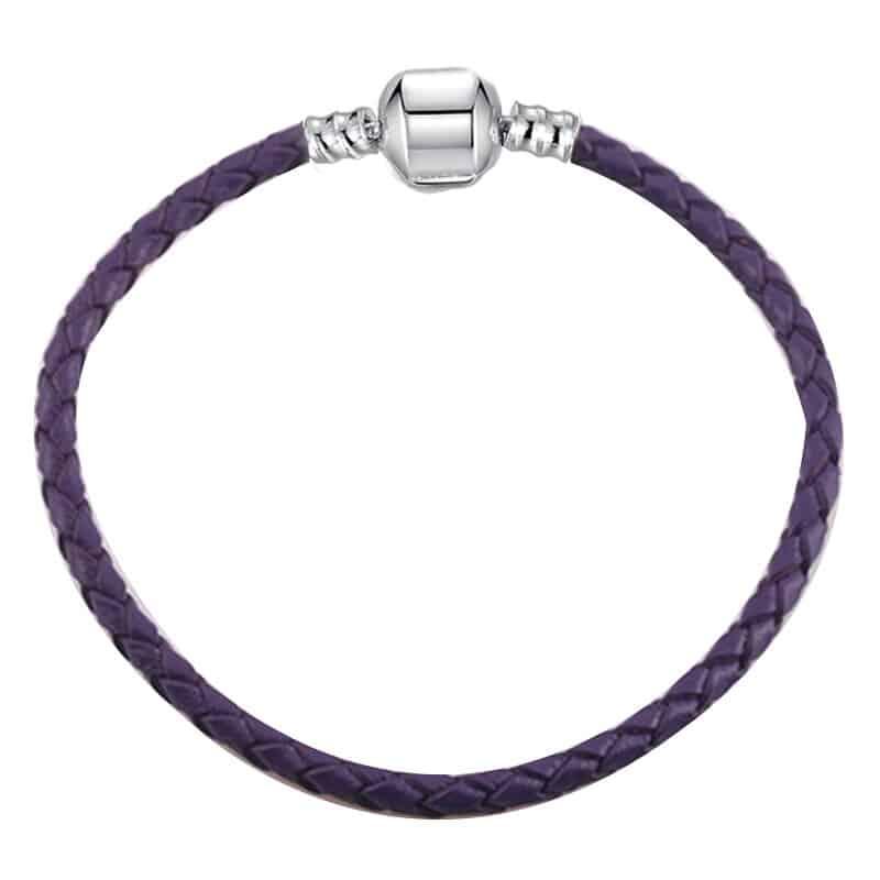 Bracelet en cuire violet