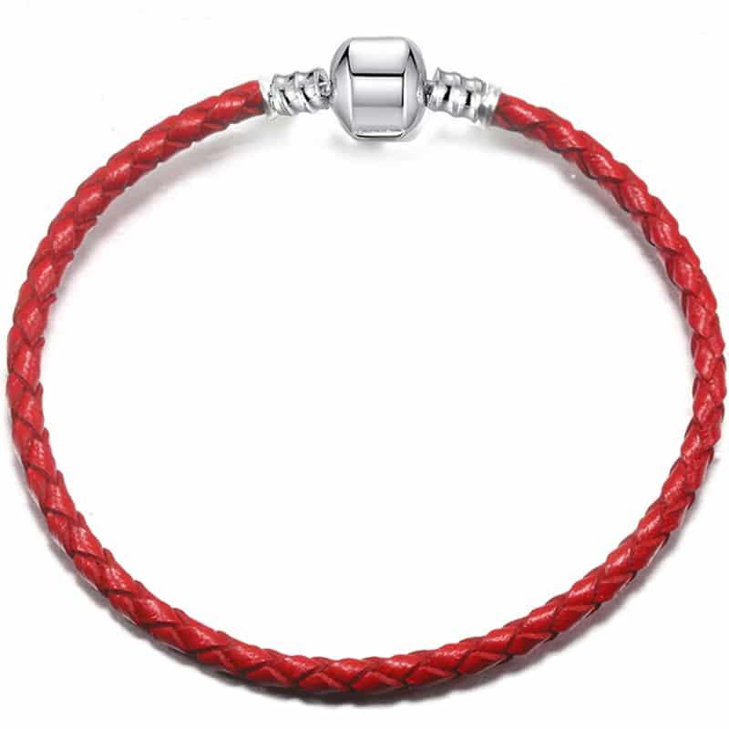Bracelet en cuire rouge