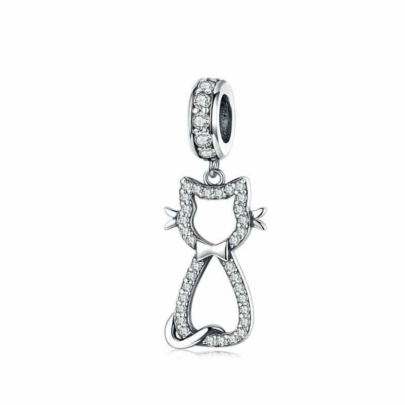 Charms Chat Argent et Strass