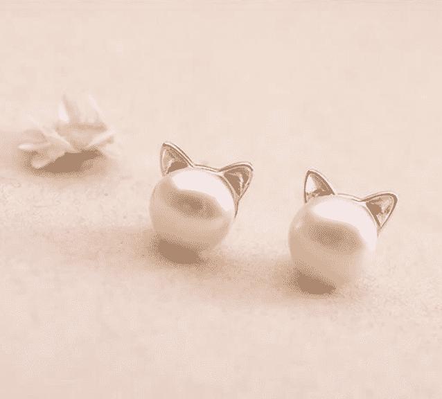 Boucle d'oreilles chat La Belle Perle 4