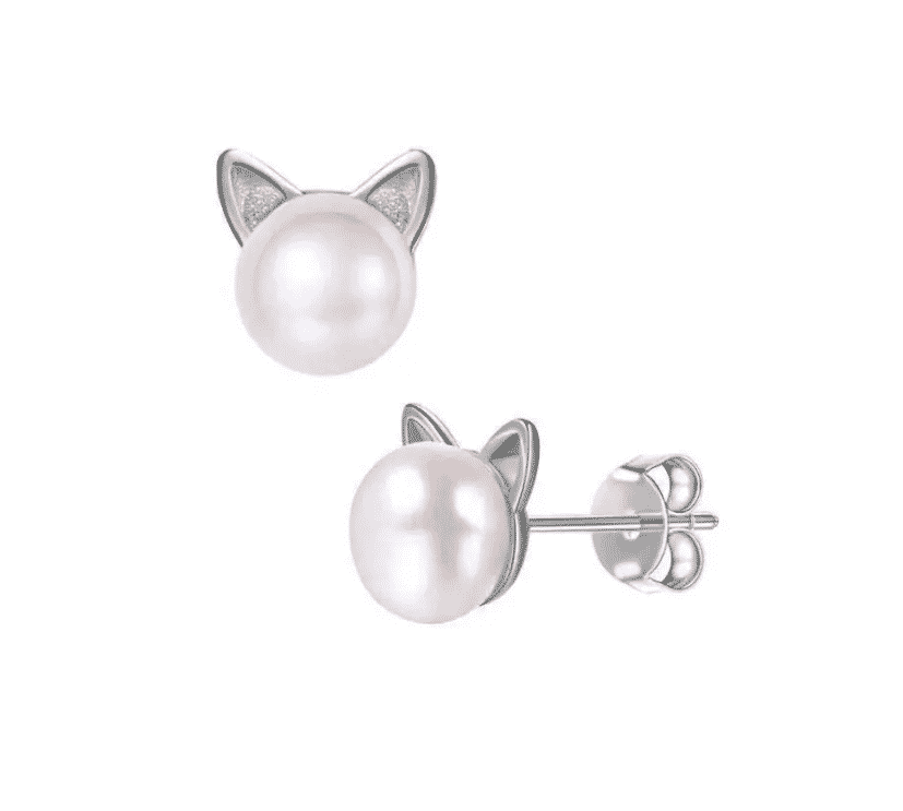 Boucle d'oreilles chat La Belle Perle 1