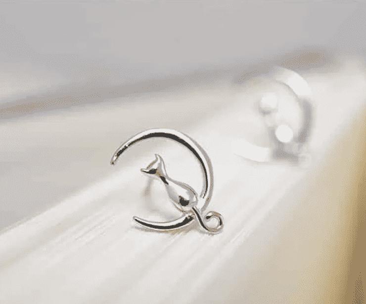 Boucle d'oreilles chat argent les moustaches dans la lune 3