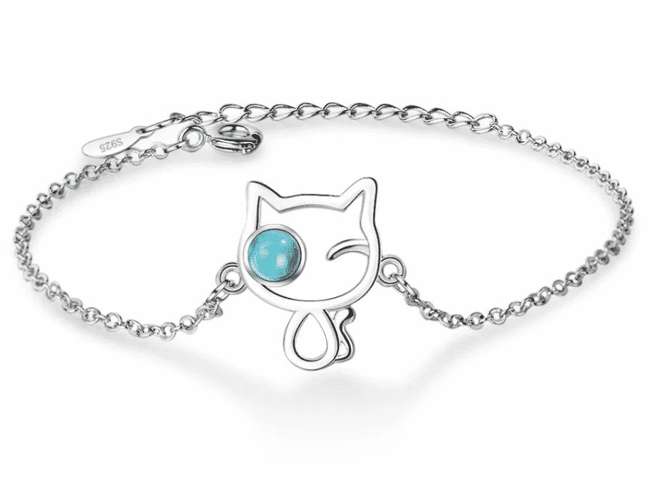 Bracelet chat en argent Le turquoise dans l'oeil de verre 1