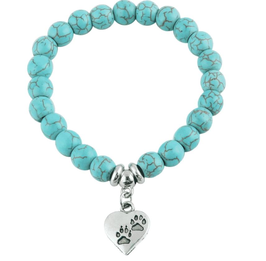 Bracelet chat Perles turquoises, pendentif cœur avec pattes 1
