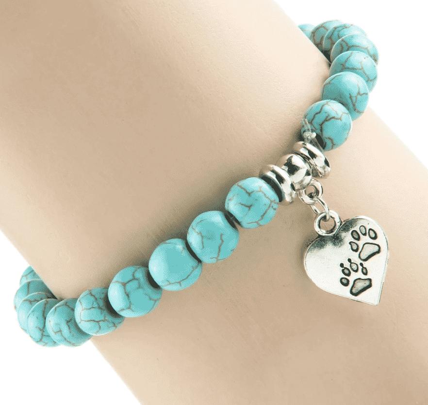 Bracelet chat Perles turquoises, pendentif cœur avec pattes 2