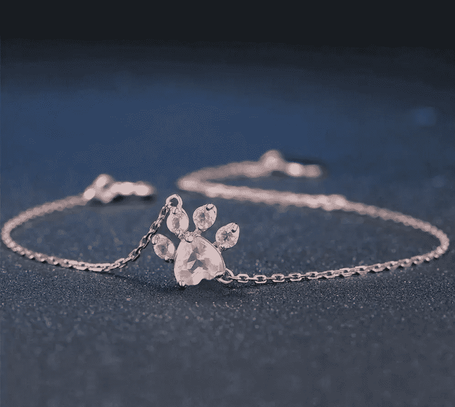 Bracelet chat plaqué or rose la patte de cristal 1