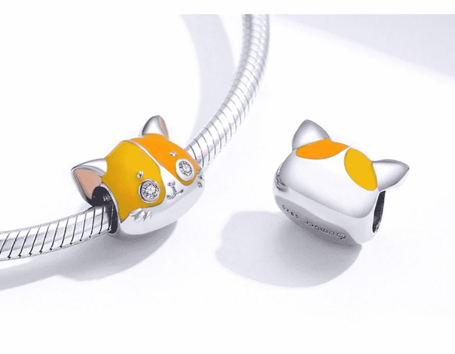 Bracelet en argent avec charme chat double face 2
