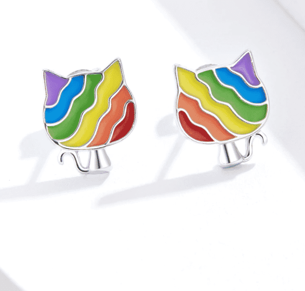 Boucles d'oreilles chat Rainbow Kitty 3