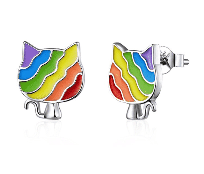 Boucles d'oreilles chat Rainbow Kitty 1