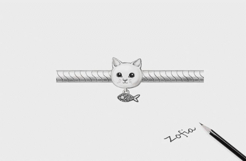Charms Chat (argent) - Tête de chat avec poisson orné de cristaux en pendentif 4