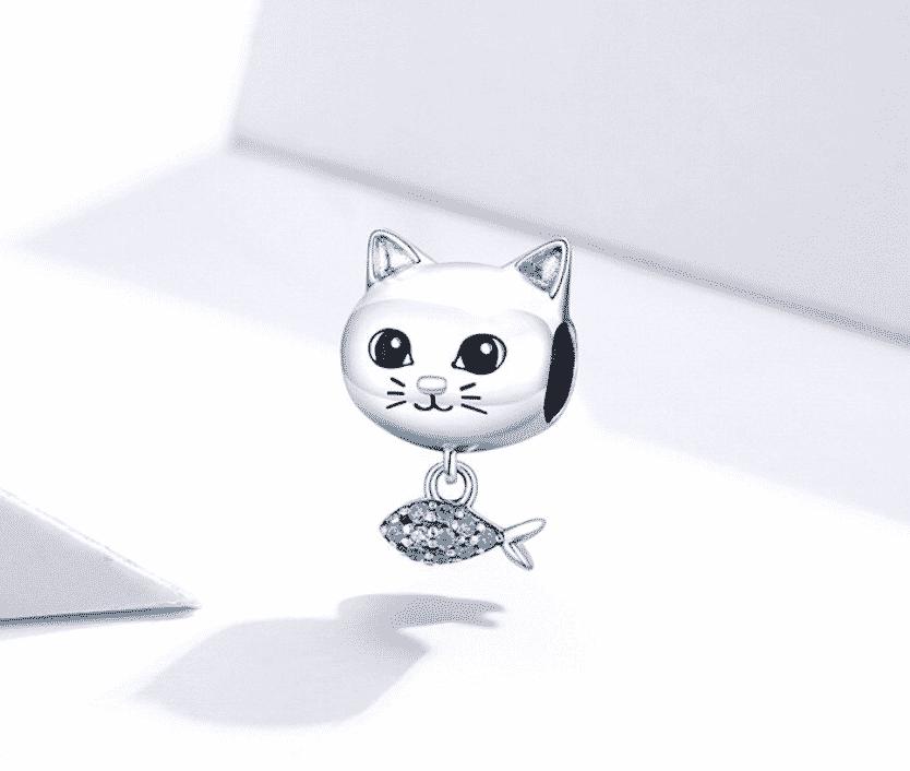 Charms Chat (argent) - Tête de chat avec poisson orné de cristaux en pendentif 3