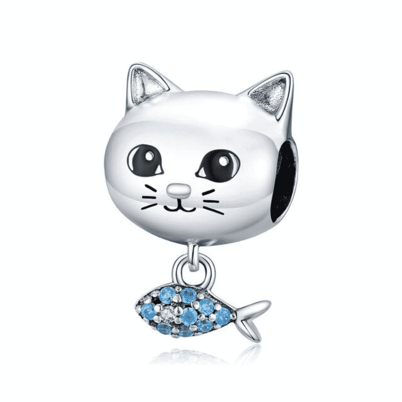 Charms Chat (argent) - Tête de chat avec poisson orné de cristaux en pendentif